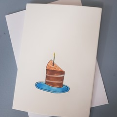 Watercolour cake birthday card