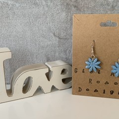 Polymer clay flower earrings, pink, blue or grey, hand made in Melbourne