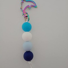 Blue dolphin silicone bead keychain