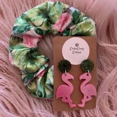 Scrunchie and earrings  Gift Pack, Scrunchie Pack, flamingo scrunchie