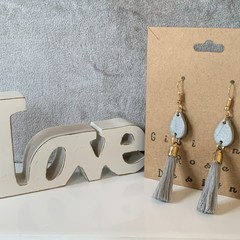 Grey tassel polymer clay earrings with gold wire hook