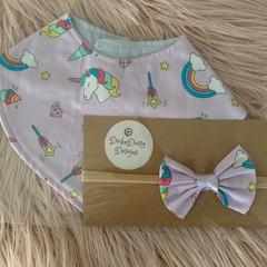 Unicorn Bandana Bib and headband set,Baby bib, dribble bib