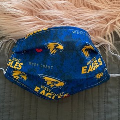 Face Mask with Filter Pocket, Adults West Coast Eagles football club Face Mask