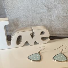 Blue and white polka dot triangle pierced earrings, zinc alloy, silver wire hook