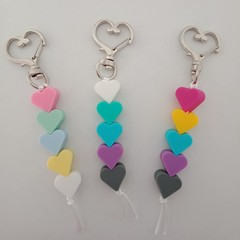 Heart silicone bead keychains