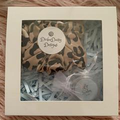 Scrunchie and Lip Balm Gift Box, Animal Print Scrunchie & Lip Balm