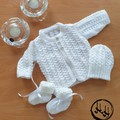Baby set Hand Knit - White Matinee Jacket, bonnet and booties set