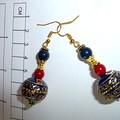 Super yummy handmade polymer clay and metal tribal style bead earrings