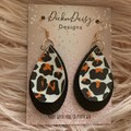Boho leather and faux leather Earrings, Animal print Earrings