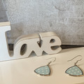 Blue and white polka dot triangle pierced earrings, zinc alloy, silver wire hook