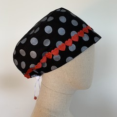 Colourful one of a kind reversible Scrub Hat - Black Dot Valentine's Day