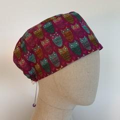 Colourful one of a kind reversible Scrub Hat - Owl - Hoo Hoo