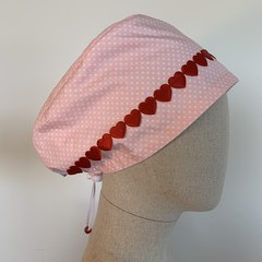 Colourful one of a kind reversible Scrub Hat - Pink polka Dot/Hearts