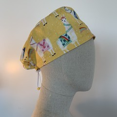 Colourful one of a kind reversible Scrub Hat - Yellow Llama