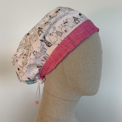 Colourful one of a kind reversible Scrub Hat - Bashful Bunny/Pink
