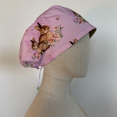 Colourful one of a kind reversible Scrub Hat - Bunny Lilac/Sage