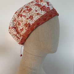 Colourful one of a kind reversible Scrub Hat - Red Cherry Blossom