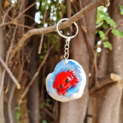 Polymer clay crab keyring or bag charm