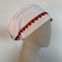 Colourful one of a kind reversible Scrub Hat - White Valentine's Day Special