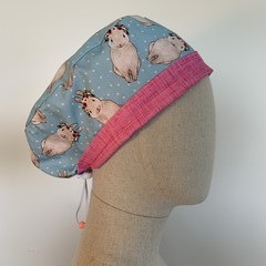 Colourful one of a kind reversible Scrub Hat - Bunny Blue/Pink