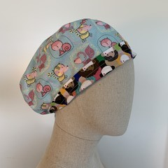Colourful one of a kind reversible Scrub Hat - Pink bunny/Cream