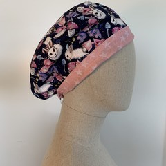 Colourful one of a kind reversible Scrub Hat - Bunny Navy/Pink Stars