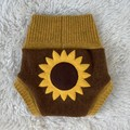 Medium Sunflower Wool Nappy Cover- extra short cuffs