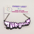 Customised name necklace 70's inspired with acrylic mirror and silver chain