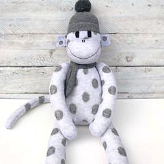 'Jeremiah' the Sock Monkey - light grey with dark grey spots -*READY TO POST*