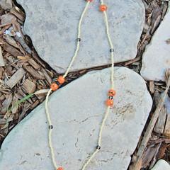 Orange & Ivory Seed Bead Necklace