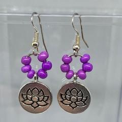 Purple Lotus Earrings