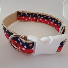 Red white blue and tan star print adjustable dog collars