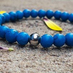 B Peaceful ~ Gemstone and Stainless Beaded Bracelet