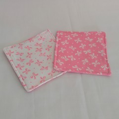 Pink and White Bows Fabric Coasters (Set of 2)