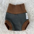 Large Sunflower Wool Nappy Cover - extra short cuffs