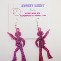 70's Disco inspired dangle earrings in glitter infused acrylic