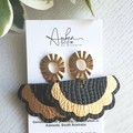 Studded Scalloped Fan, Genuine Leather Earrings, Black/Gold