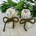 Oatmeal Handmade Crochet Baby Booties Pregnancy Announcement Baby Reveal