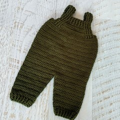 Crocheted Newborn Baby Olive Green Overall, Oatmeal Cardie, Beanie & Booties