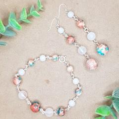 Rainflower Stone Duo (earrings and bracelet)