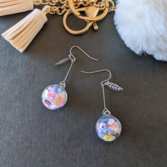 Flower in a Glass (Pastel)- Cute rainbow dangle earrings