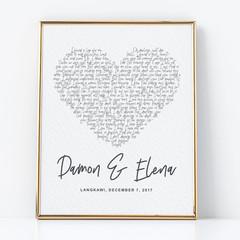Personalised artwork - Perfect Ed sheeran - unique anniversary/wedding gift