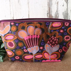 Small Toiletry bag- Purple Garden