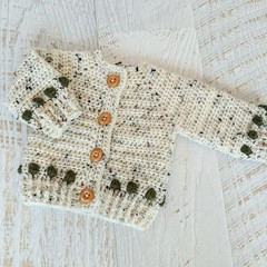 Oatmeal & Olive Green Hand Crocheted Baby Cardigan  0-3 months