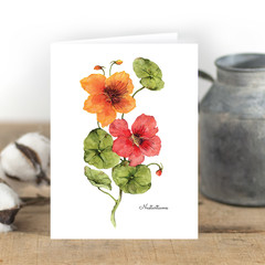Nasturtiums Watercolour Artist Greeting Card, Blank Inside, A6 size, Floral