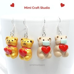 Valentine BEAR love heart dangle earrings, Valentine earrings
