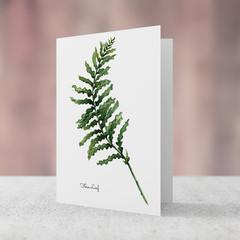 Fern Leaf Watercolour Artist Greeting Card, Blank Inside, A6 size, Botanical