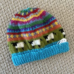 Aqua Sheep  Beanie - to fit approx size 1-3 years -hand knitted
