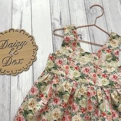 Floral Tea Party Dress, Size 2 3 or 4, Girls Dresses