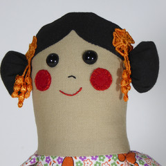 Gina Cloth Doll - Mini Heirloom Style Fabric Doll in Orange Butterfly Print
